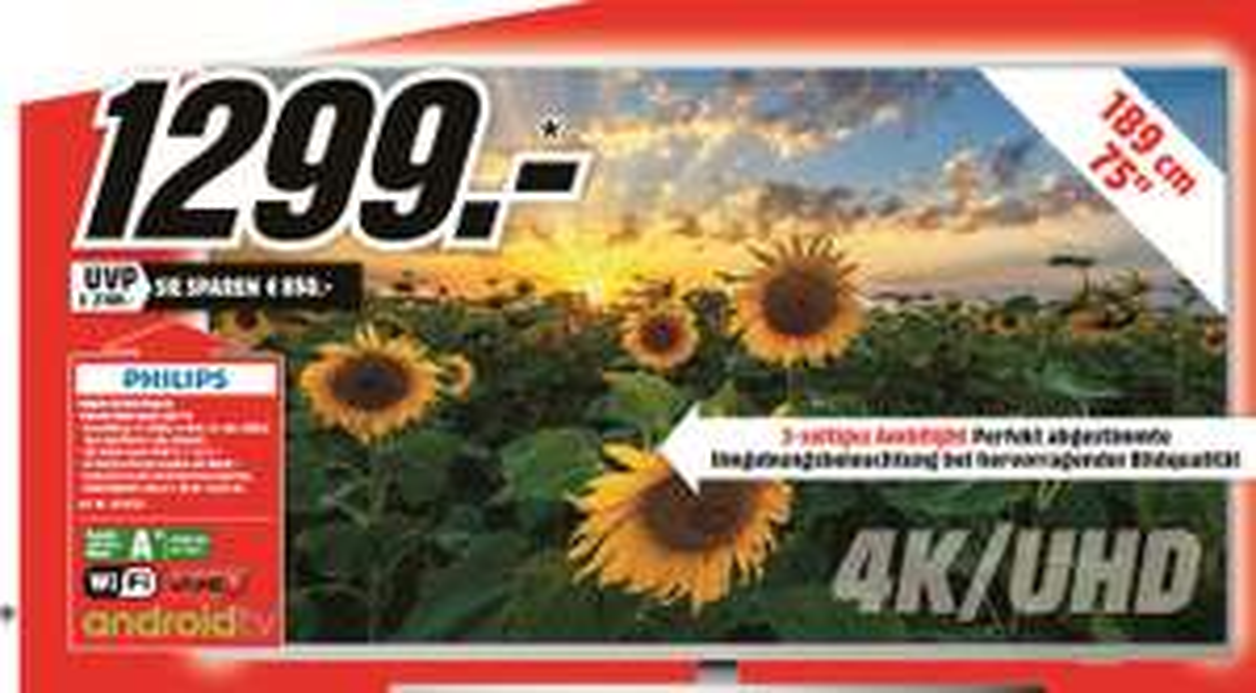 [Regional Mediamarkt Emden/Papenburg/Leer] PHILIPS 75PUS7354 LED-TV (Flat, 75 Zoll, UHD 4K, SMART TV, Ambilight, Android™ 9.0 für 1299,-€
