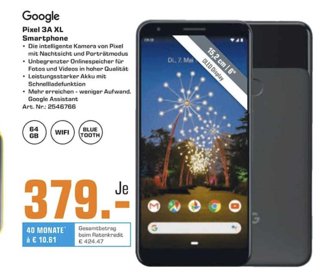 """[Lokal: Saturn Frankfurt Main / Neu-Isenburg / Offenbach] Google Pixel 3A XL 6.0"""" Smartphone (64GB, 4GB RAM, USB-C, NFC, 3700mAh) just black"""
