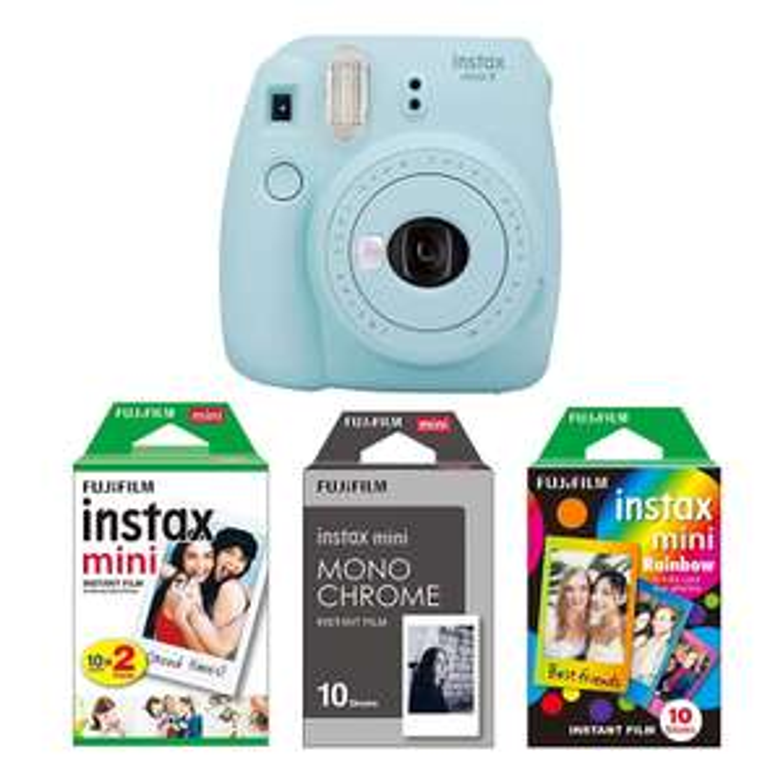 Fujifilm Imaging/Instax Mini 9 Kamera eisblau mit Filmset monochrome [Amazon]
