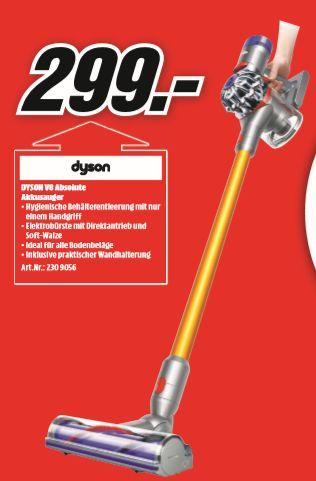 [Regional Mediamarkt Aalen-Nur am 15.09] DYSON 227296-01 V8 Absolute, Akkusauger mit Stiel, Stielsauger, Nickel/Gelb für 299,-€