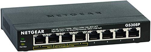 NETGEAR GS308P 8 Port Gigabit Ethernet Unmanaged PoE Switch (mit 4x PoE und 55W, Desktop, robustes Metallgehäuse, lüfterlos)