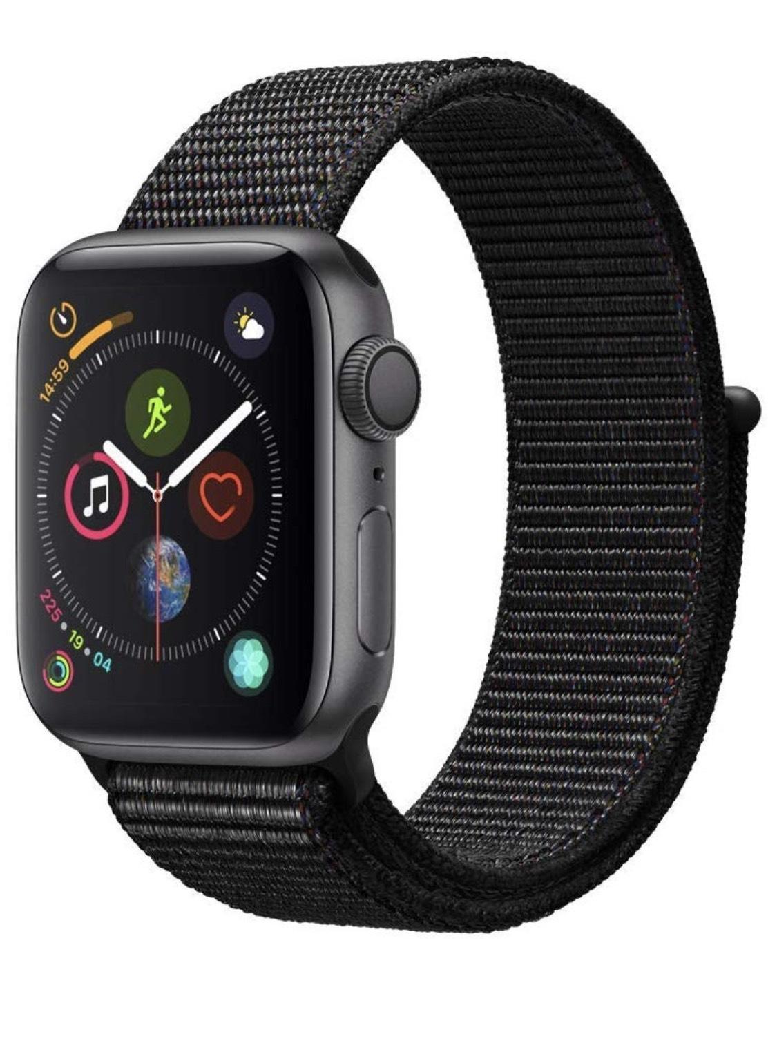 Apple Watch Series 4 (GPS) 40 mm Aluminiumgehäuse, Space Grau, mit Sport Loop, Schwarz PLUS PORTO FRANCE