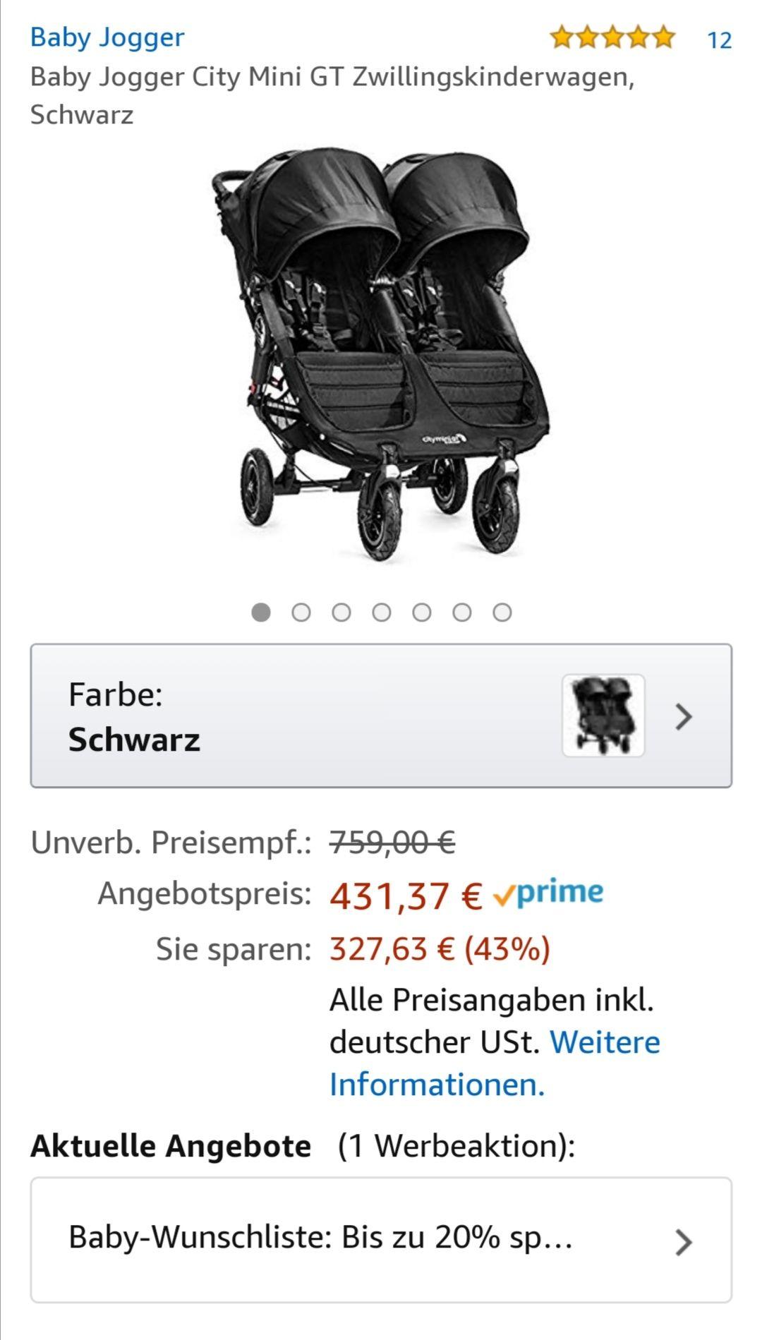 Baby Jogger City Mini GT Zwillings/Geschwisterwagen. Bis 45 Kg -> ca 5 Jahre. Mit Baby-Wunschliste zusätzlich 10/15/20%