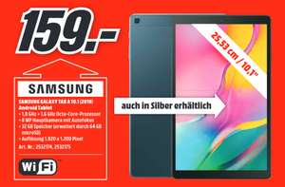 [Lokal: Media Markt Aalen am 15.09 13-18 Uhr] SAMSUNG Galaxy Tab A 10.1 Wi-Fi (2019), Tablet , 32 GB, 10.1 Zoll