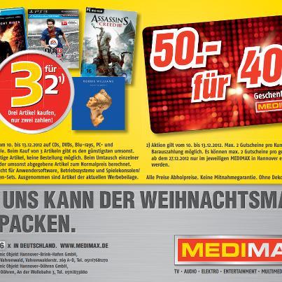 3 zum Preis von 2 - Blurays, DVDs, CDs, PC oder Konsolengames