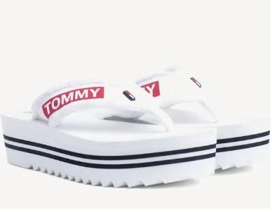 (Amazon Prime  ) Gr.37-40+42 Hippe weiße Tommy Hilfiger Damen Denim Beach FlipFlops