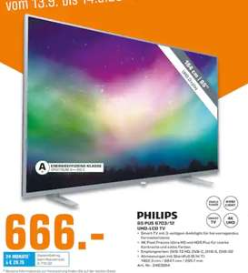 "[Lokal: Saturn Trier 13.09.+14.09.] Philips 65PUS6703 65"" 4K Smart TV (Direct LED, 60Hz, 8bit+FRC, 3fach Ambilight)"