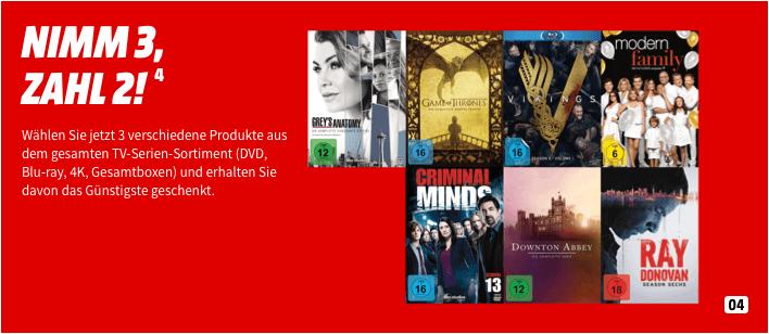 Nimm 3 Zahle 2 TV-Serien (DVD, Blu-ray, 4K, Gesamtboxen) gültig bis zum 22.09 (Media Markt & Amazon)