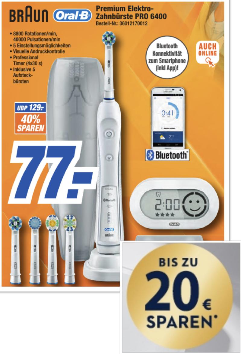 Expert: Braun Oral-B PRO 6400 SmartSeries elektrische Zahnbürste mit Bluetooth u. App für 77€ + 20€ Cashback!