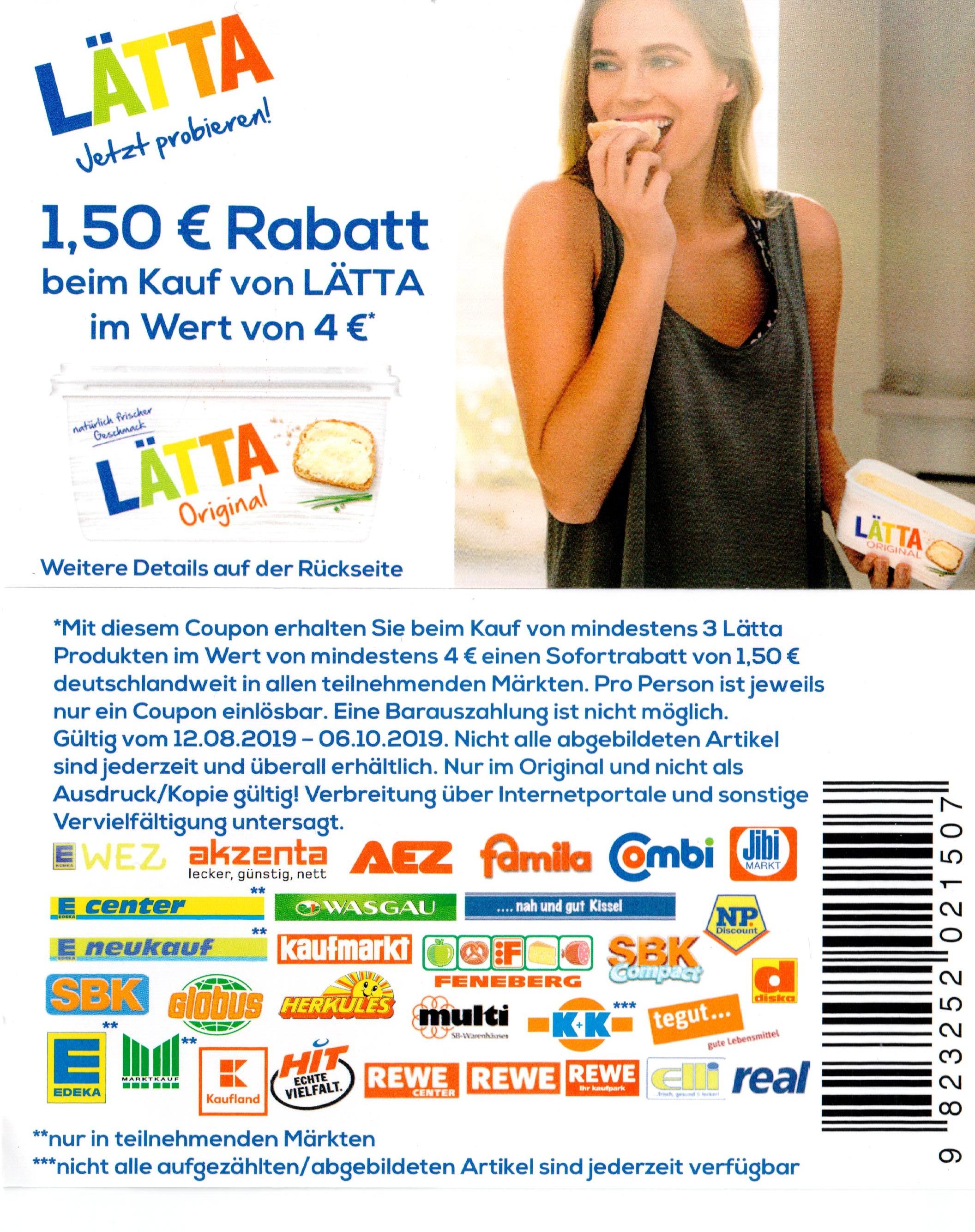 1,50€ Rabatt Coupon für 3 Lätta Produkte im Wert von mind. 4,00€ [06.10.2019]