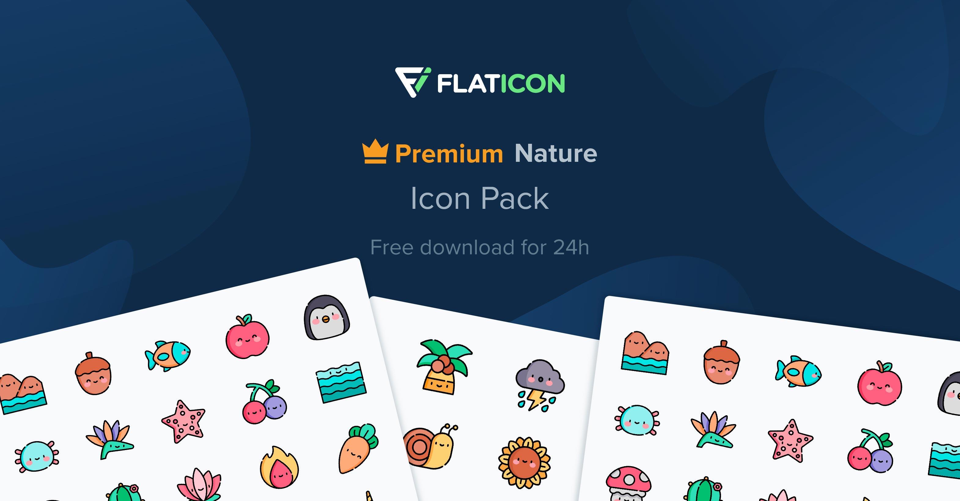 """Icon-Pack """"Natur"""" für 24 Stunden Kostenlos mit Lizenz zur kommerziellen Verwendung"""