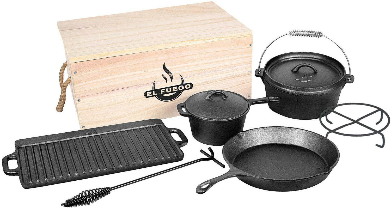 El Fuego Dutch Oven Set, 7 -teilig, Grill-Pfanne, Saucen-Topf, Feuerstelle, Schürhaken, Grill-Platte, Feuertopf aus Gusseisen