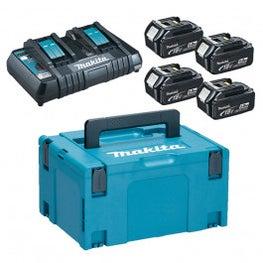 Makita 18V Akku Power Kit, 4 x 5Ah-Akkus, Makpac Gr3 und Schnellladegerät DC18RD