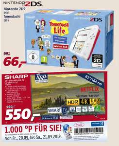 "[Real ab 16.09.] Nintendo 2DS Konsole rot/weiß + Tomodachi Life vorinstalliert | Sharp LC-65UI7552E 65"" 4K Smart TV (Direct LED) für 550€"