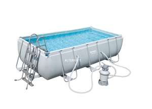 Bestway Power Steel Rectangular Frame Pool Set 404cm x 201cm x 100cm mit Sandfilter