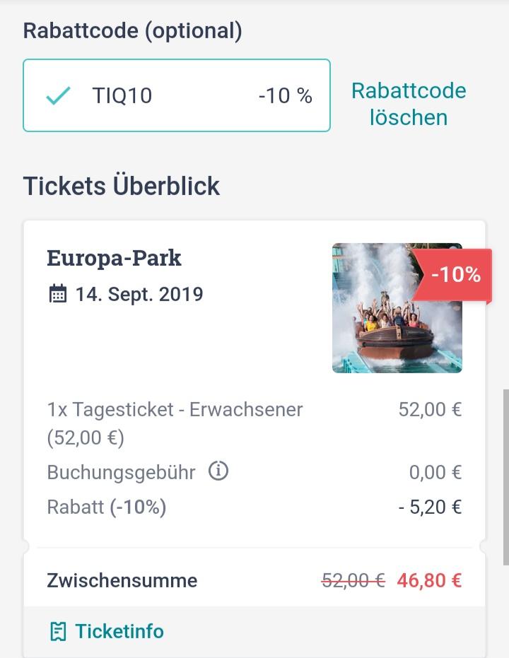 10% auf alles bei tiqets.com. Beispiel: Europa Park für 46,80 € statt 52€