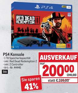 [Metro AT] PlayStation 4 - Konsole Slim (1TB, slim) inkl. 2 DualShock 4 Controller + Red Dead Redemption 2 [CUH-2216B]