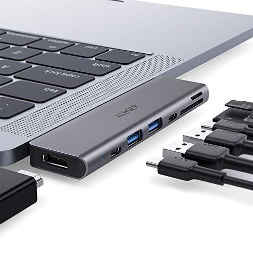Aukey 7-in-1 USB-C-Hub (Thunderbolt 3 bis 5K@60Hz, HDMI bis 4K@30Hz, USB-C, 100W Power Delivery, 2x USB-A, SD, microSD)