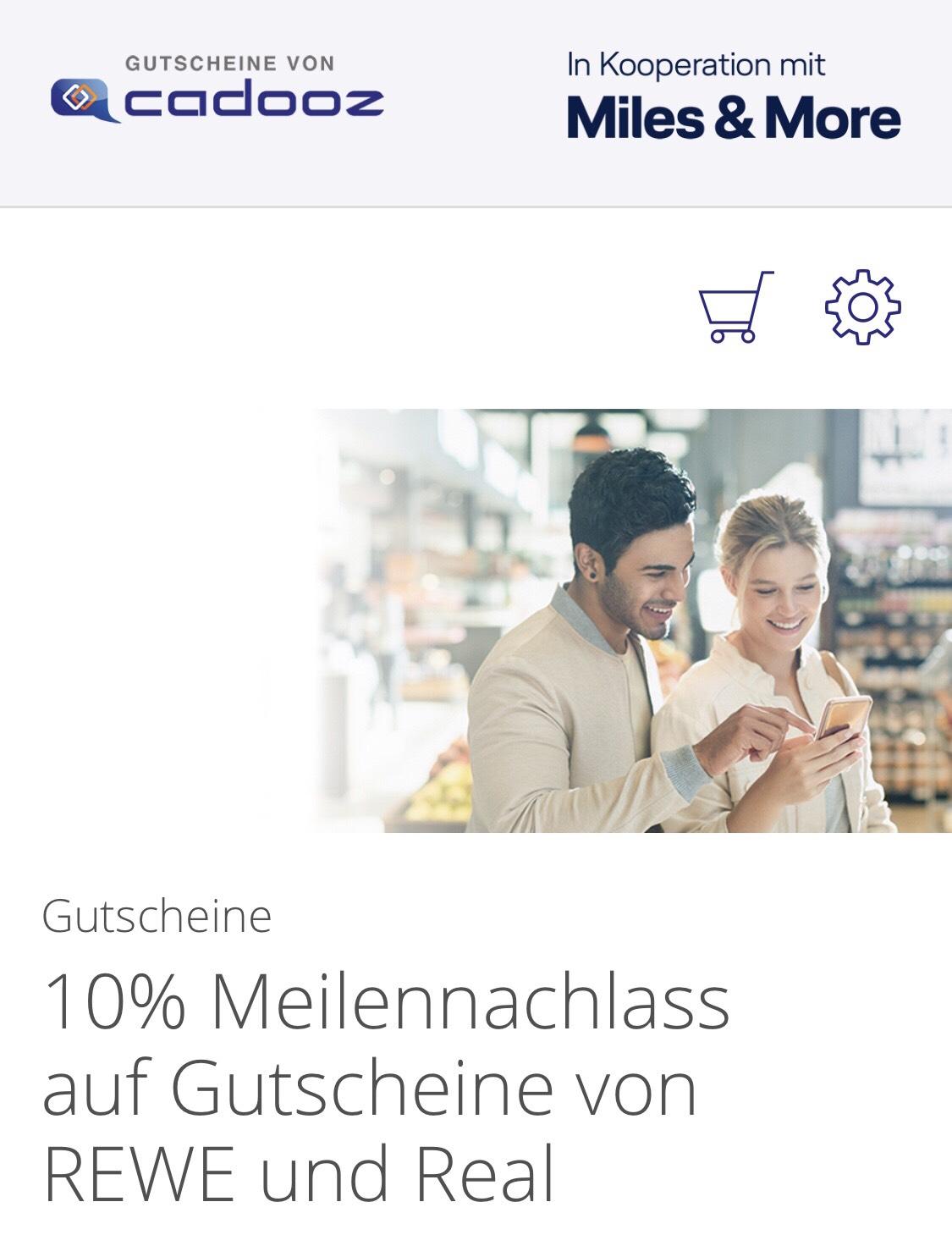 Miles&More: 10% Meilennachlass auf REWE & real.de-Gutscheine via cadooz