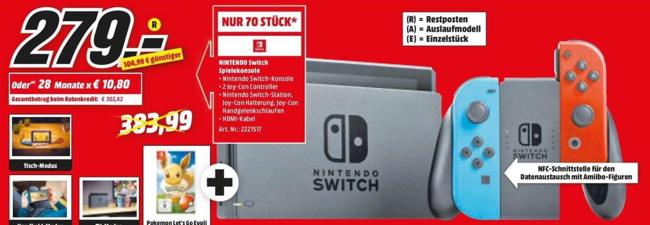 [Regional Mediamarkt Pirmasens-Nur am 15.09] Nintendo Switch neon-rot/neon-blau (Alte Version) + Pokemon Evoli für 279,-€ (70 Stück)