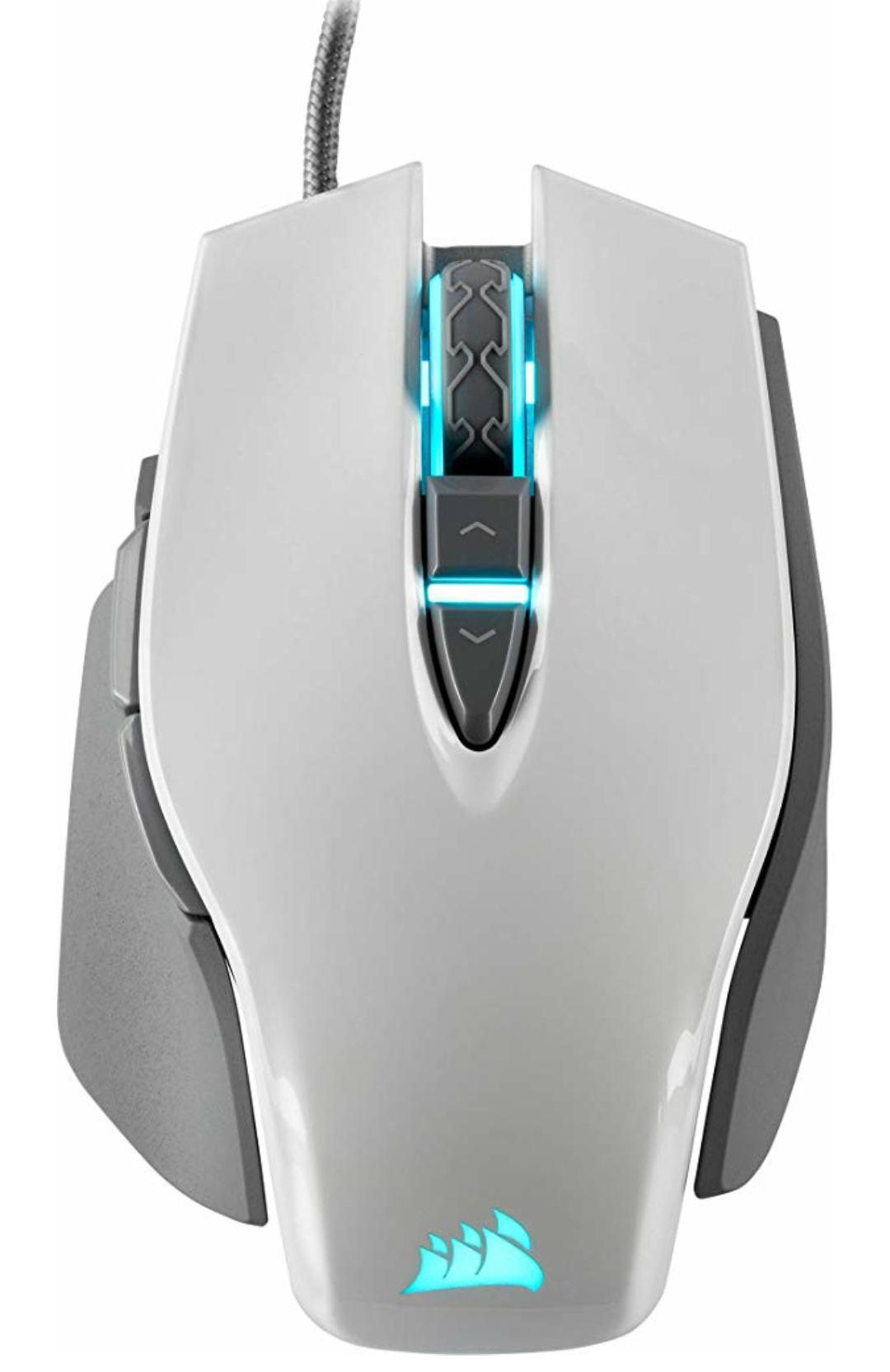 Corsair M65 Elite RGB FPS Gaming Laser Maus (18.000 DPI optischer Sensor, RGB LED Beleuchtung, Anpassbares Gewichtssystem) weiß