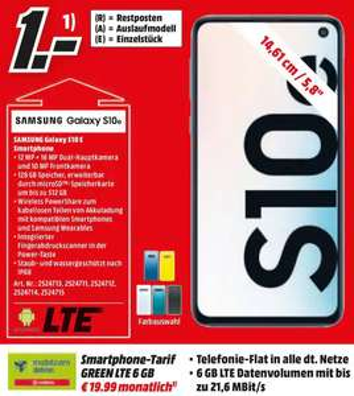 [Sonntag! Regional Media Markt Pirmasens] Samsung Galaxy S10e im Debitel Vodafone (6GB LTE/Allnet) für 19,99€ mtl.