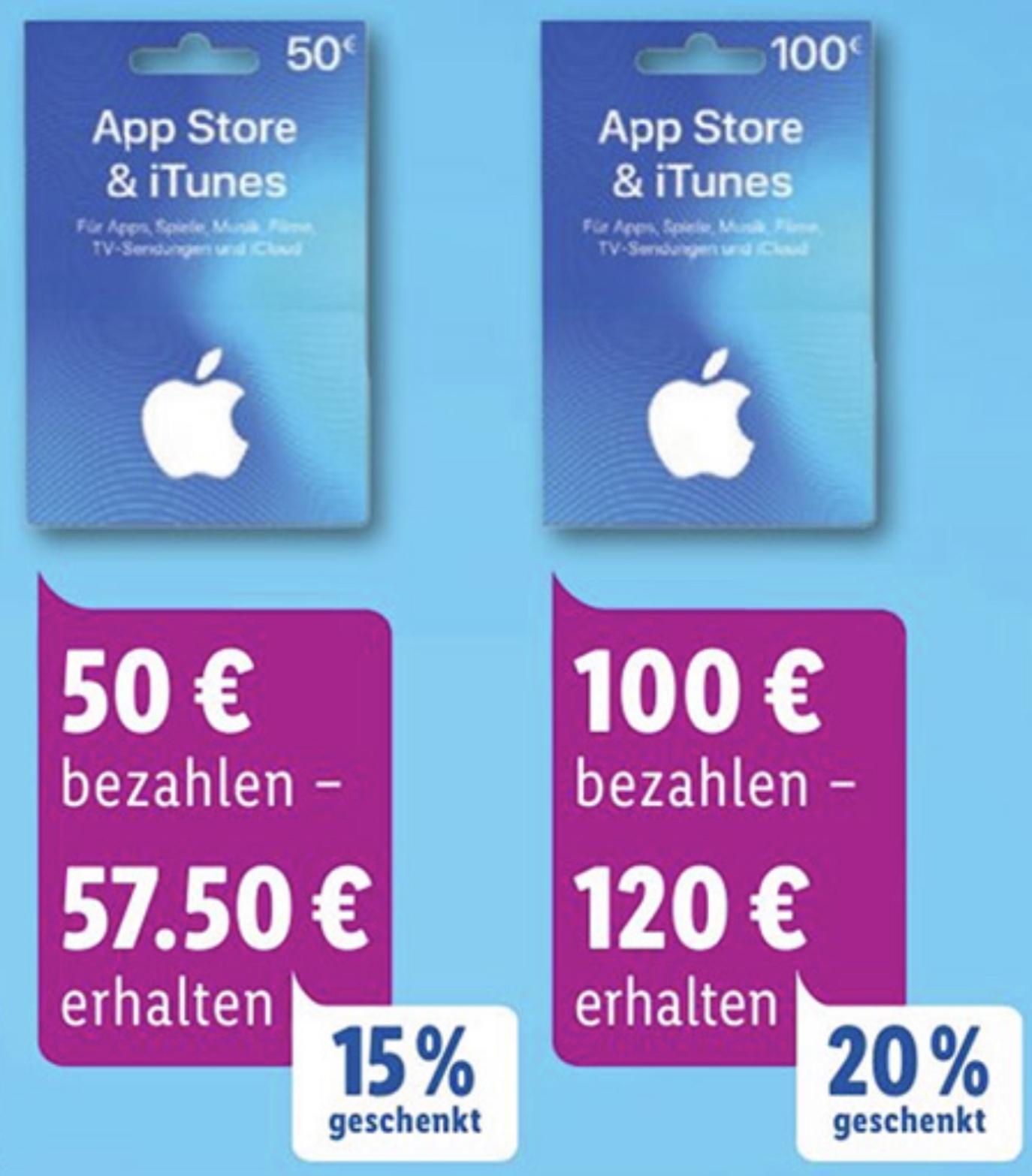 Lidl: Bis zu 20% zusätzliches Guthaben für iTunes & App Store Geschenkkarten - 25€, 50€ u. 100€ - ab 23.09.