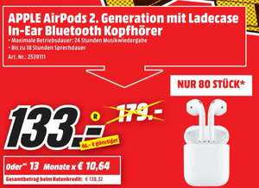 [lokal] Apple Airpods 2. GEN. (Media Markt Pirmasens)