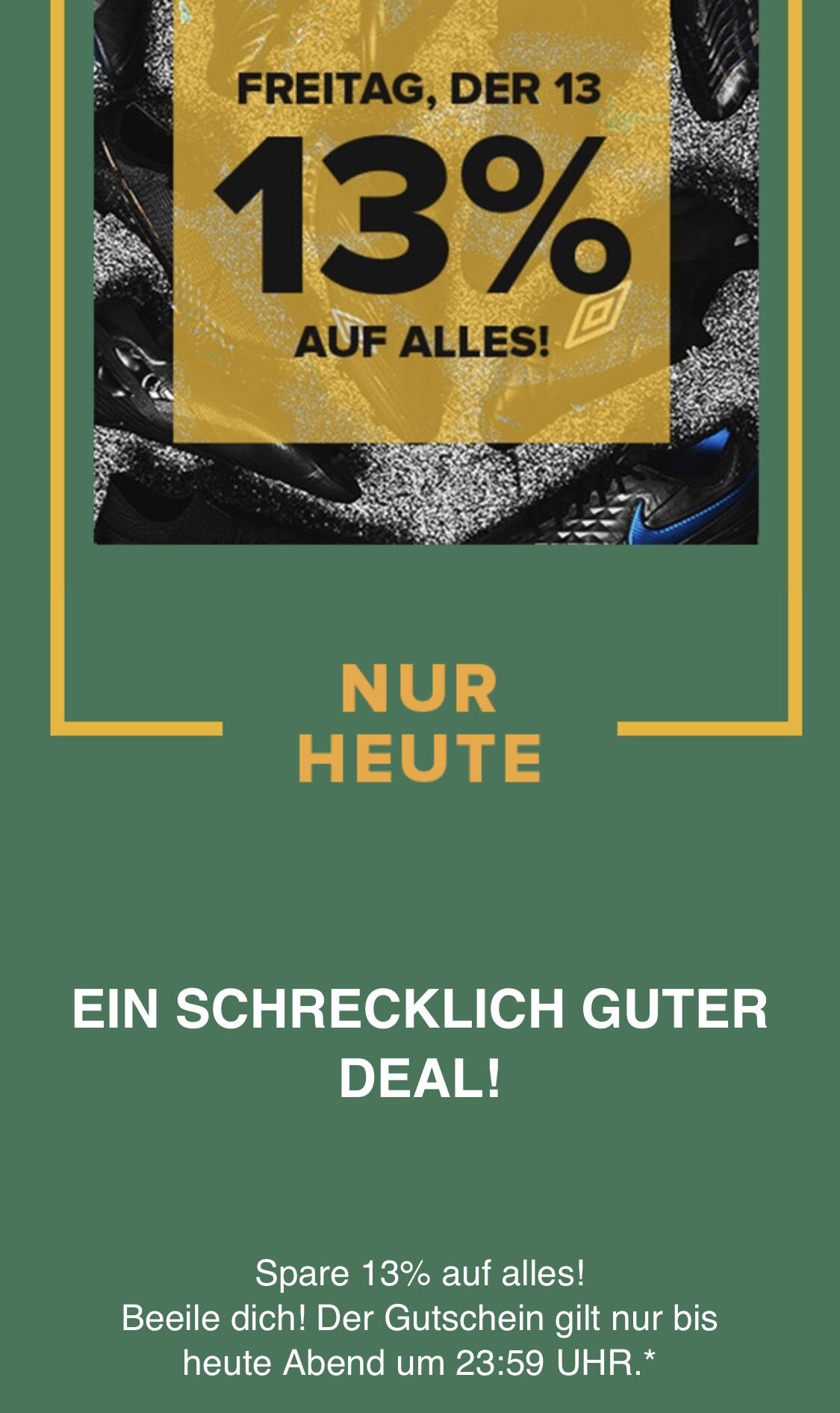 13% auf alles bei Unisportstore.de