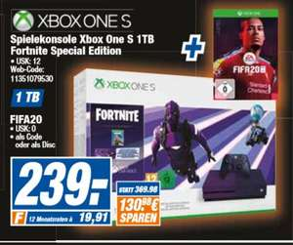 [ RegionalHEM Expert ab 18.09]  Microsoft Xbox One S 1TB Fortnite Special Edition + FIFA 20 für 239,-€