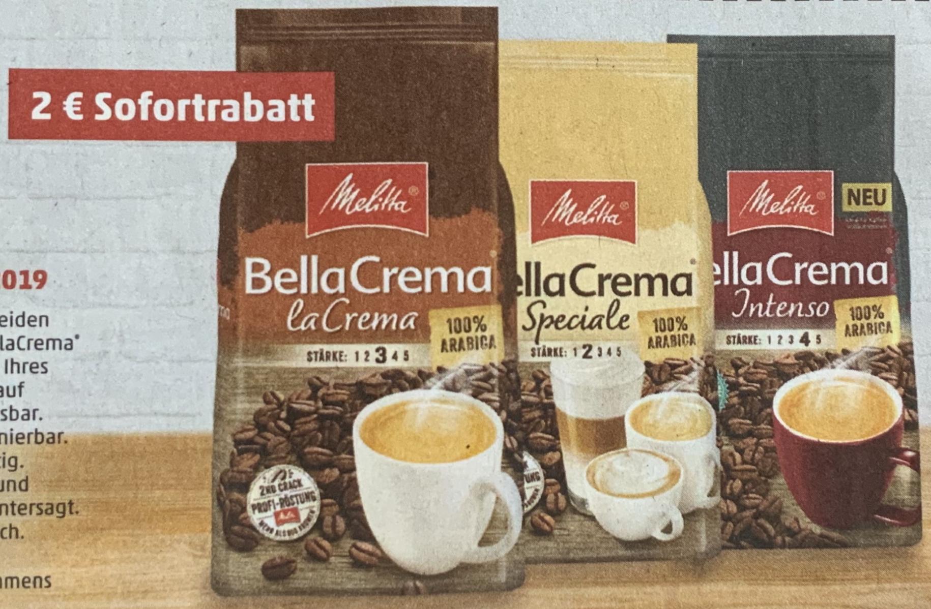 Melitta BellaCrema Kaffeebohnen verschiedene Sorten 1000g. Packung für je 6,88€ durch 2€ Sofortrabatt