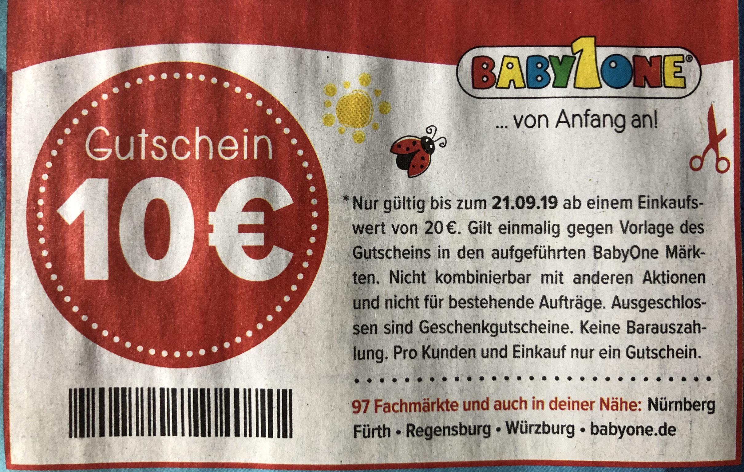 [BabyOne offline] 10 € Rabatt - MBW 20 € - Nürnberg Fürth Regensburg Würzburg