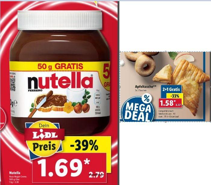 [LIDL ab 23.09/Kaufland ab 26.09) Nutella im 500g Glas für 1,69€ (3,38€ pro Kilo) / 3 Apfeltaschen für 1,58€ ( Stückpreis 0,53€)