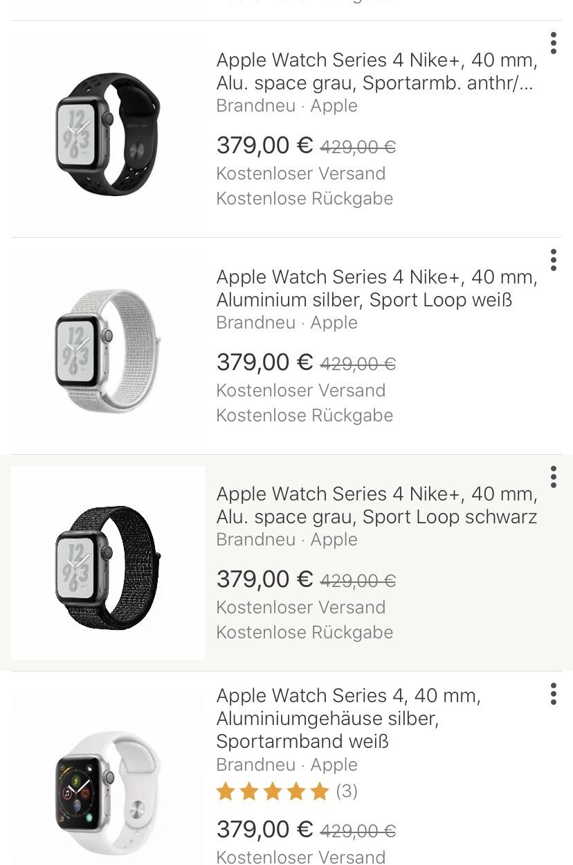 Apple Watch Series 4, 40mm aluminium bei eBay gravis Shop mehrere Farben