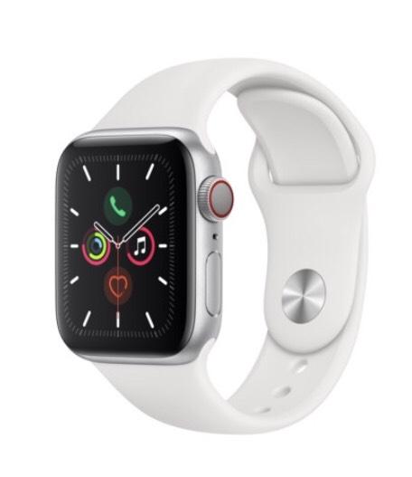 Apple Watch Series 5 (GPS + Cellular) 40mm Aluminiumgehäuse silber Sportband weiß
