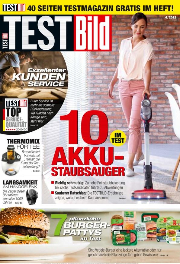 Testbild Ausgabe 4/2019 mit den Themen Vegane Burger Pattys und Akku Staubsauger im Test gratis als E-Paper