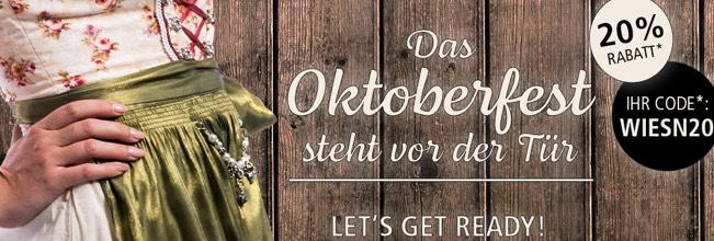 20% Oktoberfest Rabatt! ab 59€ Mindesteinkaufswert keine reduzierten bei Parfümerie Pieper