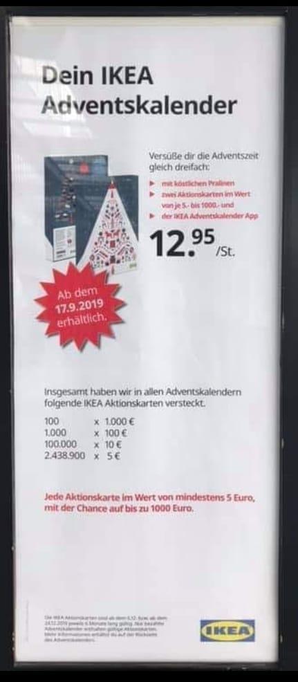 (IKEA bundesweit) Adventskalender ab 17.09.2019 inkl. 2 Aktionskarten Wert mind. 10€ (Bei Benutzung des 5€ Gutscheins min. 2,05€ Gewinn)