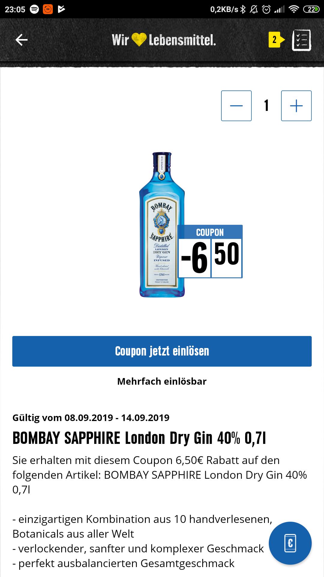 Rabatt Coupon in der Edeka App für Gin (Bombay Sapphire Dry Gin)