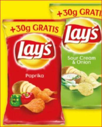 Lay´s Chips, Paprika gesalzen oder Sour Cream & Onion +30g Gratis für 66 Cent / Bei 3 Tüten und Cashback nur 44 Cent / Tüte [Zimmermann]