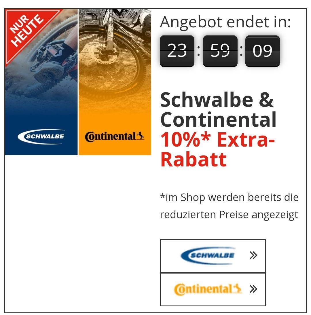 Schwalbe und Continental Fahrrad Artikel 10% extra Rabatt
