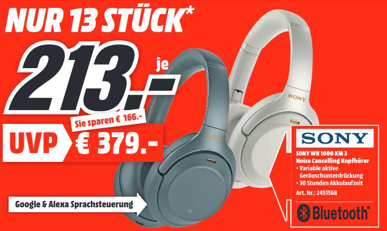 [Lokal: Media Markt Weinheim] Sony WH-1000XM3 Noise Cancelling Kopfhörer (13x verfügbar) || SAMSUNG Galaxy A20e (45x) für 124€ | u.a.