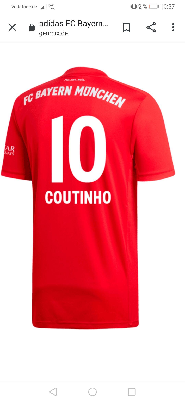 Fc Bayern München Trikot 19/20 mit Coutinho Flock