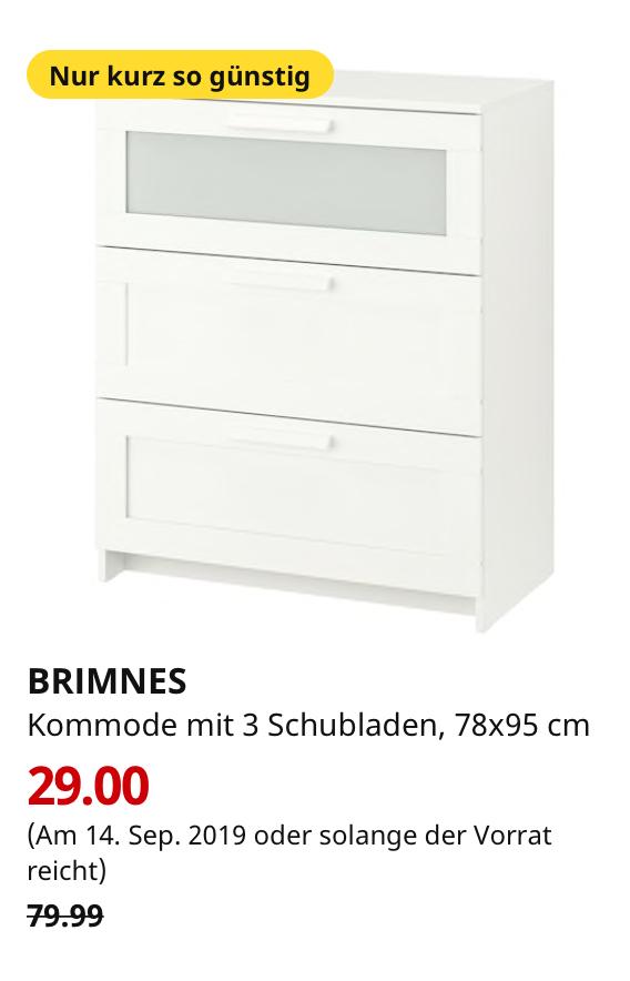 (IKEA Berlin-Waltersdorf nur am 14.09.) BRIMNES Kommode mit 3 Schubladen, weiß, Frostglas, 78x95 cm