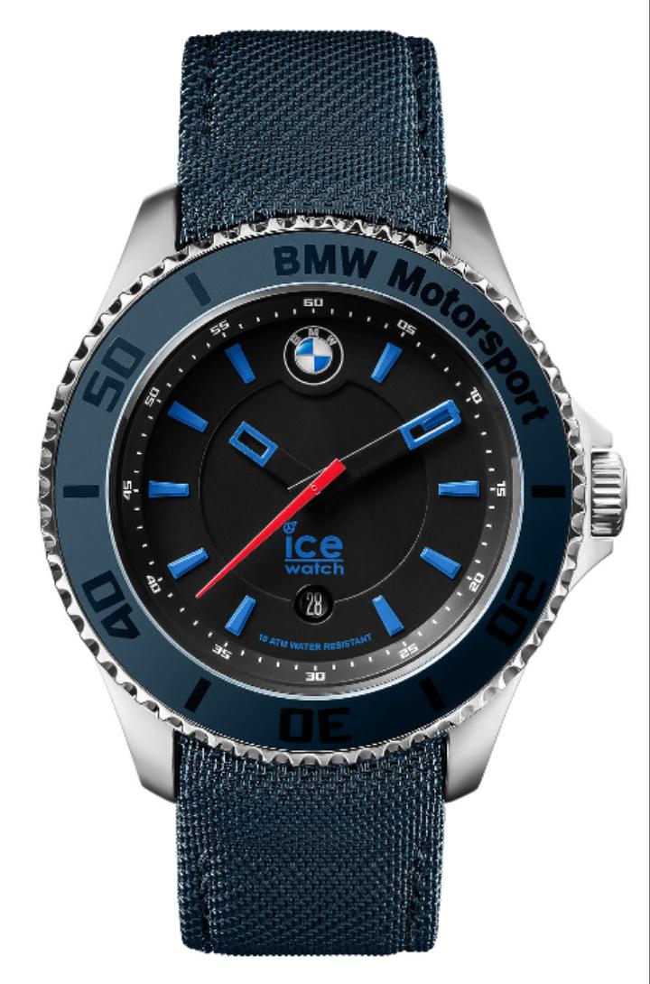 BMW Motorsport ICE Watch Herren, 10 bar, Datum, blau oder rot