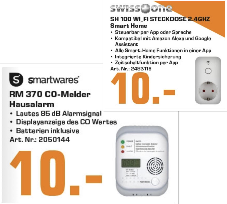 Lokal Saturn Hennef: SMARTWARES SW RM 370 Kohlenmonoxidmelder für 10€ / Swisstone SH 100 WiFi-Steckdose kompatibel mit Alexa für 10€