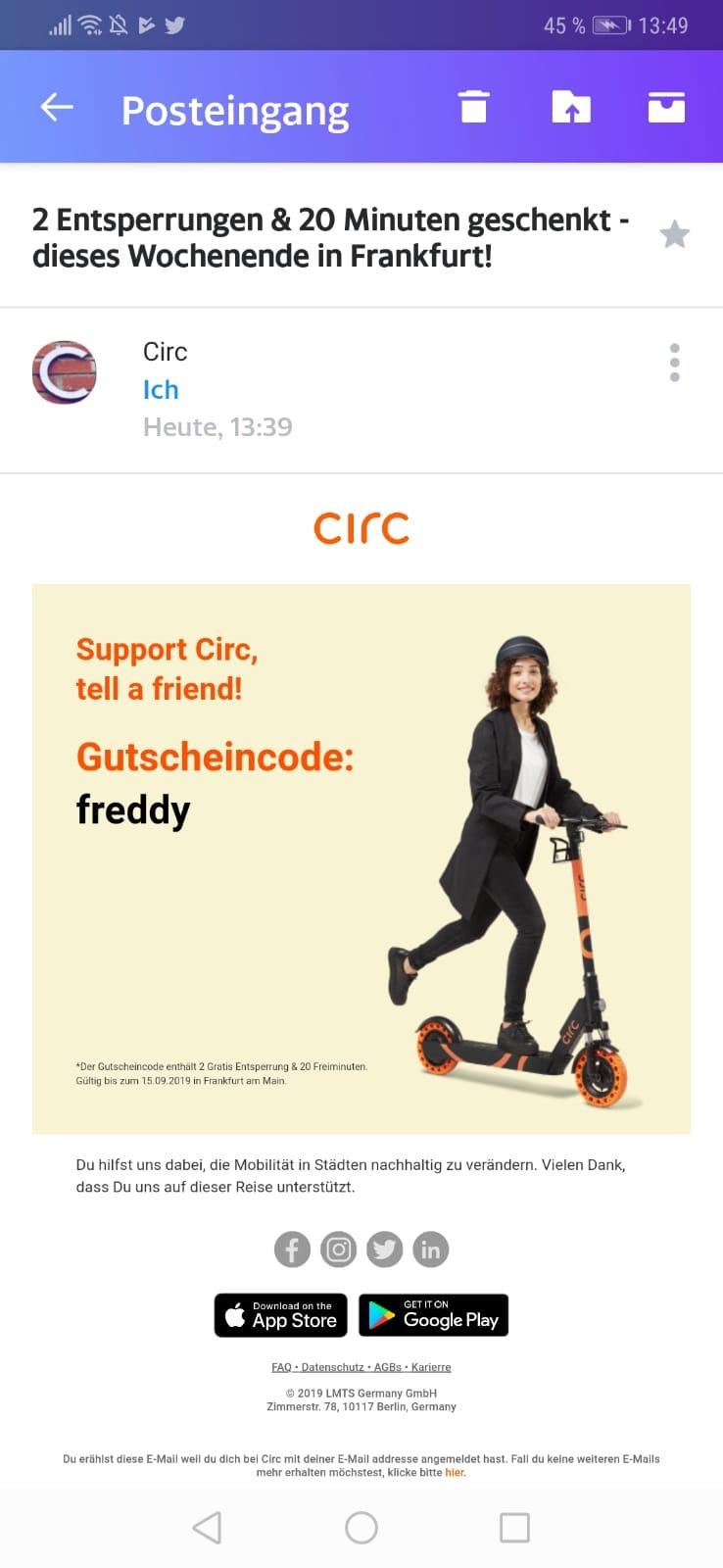 Circ E-Scooter auch Bestandskunden 2x gratis entsperren + 1x 20 Minuten gratis nur bis morgen