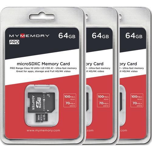 MyMemory 64GB V30 PRO Micro SD Card (SDXC) UHS-1 U3 3er Pack für 23,47€ (Einzelpreis 7,89€) @ Mymemory