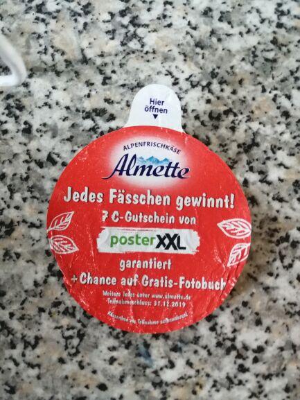 Garantiert 7 Euro bei Poster XXL beim Kauf von Almette Frischkäse