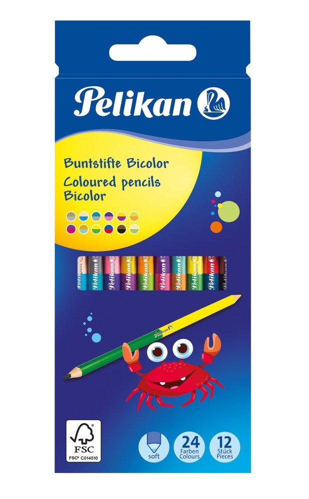 Pelikan Zweifarbige-Buntstifte Bicolor, rund, 12er Kartonetui für 1,99€ (Müller)